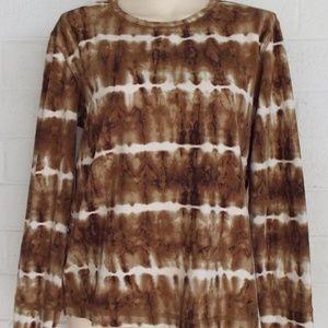 Columbia XL brown white tie-dye cotton stretch top